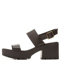 Qupid Lug Sole Chunky Heel Sandals by Charlotte Russe