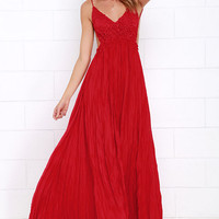 Snowy Meadow Crocheted Red Maxi Dress