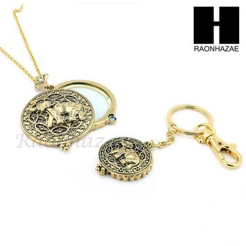 Gold 5X Magnifying Glass Lady Luck Elephant Key Chain Pendant Chain Necklace Set SJ2G