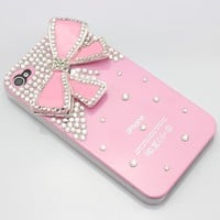 Luxury cute girly pink diamond Case bow battery skin back Cover for iPhone 4G 4S