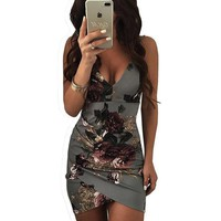Women's Sexy Grey Floral V Neck Mini Bodycon Club Dress