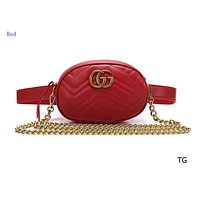 """GUCCI"" lady diagonal shoulder bag mini round bag chest bag pocket Red"