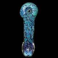 Glass Spoon Pipe with Deep Blue Ocean Fumed Frit Blend - Unique Water Colors Theme Color Changing Glass Smoking Bowl USA Borosilicate