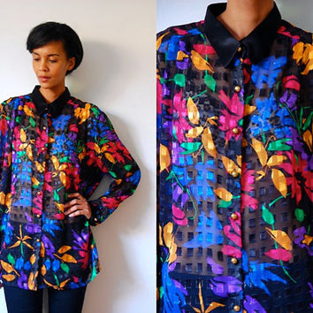Vtg Sheer Black Colorful Floral Print Button Down Shirt
