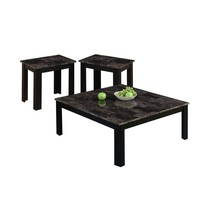 Black / Grey Marble-Look Top 3Pcs Square Table Set