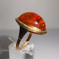 8K Amber Ring With Inclusions Yellow Gold Marked 333 Size 7.5