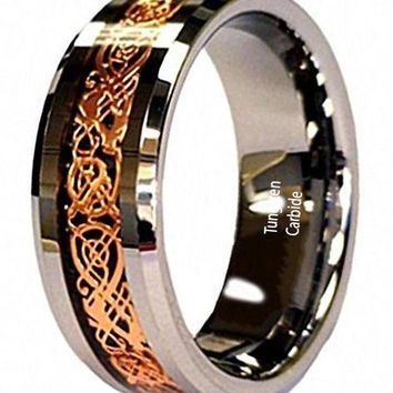 CERTIFIED 8mm 18K Rose Gold Plated Celtic Dragon Tungsten Carbide Wedding Band