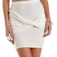 White Ruched & Knotted Bodycon Mini Skirt by Charlotte Russe