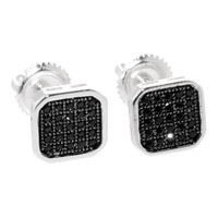 Sterling Silver Stud Earrings Cubic Zirconia Screwback 8mm Black Rounded Square