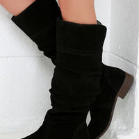Very Volatile Pirata Black Suede Leather Knee-High Boots