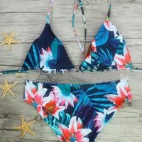 Summer Swimsuit Hot Beach Sexy New Arrival Print Double Sided Swimwear Leaf Bikini [9591165511]