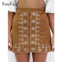 2016 Latest Embroidered Thin Suede Leather Skirt Womens Classic Vintage All-Match Skirts High Waist Bodycon Pencil Skirt