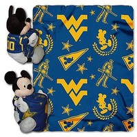 West Virginia Mountaineers NCAA Mickey Mouse Throw and Hugger Pillow Set