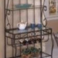 Wrought Iron Style BAKERS RACK with Wine Rack and Glass Holder