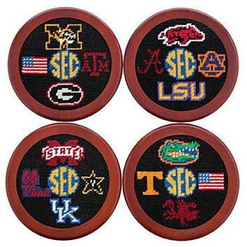 SEC Needlepoint Coasters in Black by Smathers & Branson