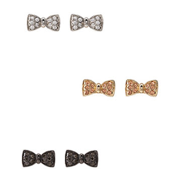 FOREVER 21 Tri-Tone Bow Stud Set Silver/Gold One