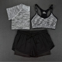 Fashion 3pcs Women's Sports Bras Yoga Fitness Racerback Vest Shorts Set 12