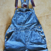 Jean Overall Shorts Cuffed Oversized Vintage 90s Medium