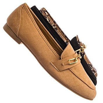 Approach02 Penny Loafer Horsebit Gold Chain - Almond toe Slip On Oxford Moccasin