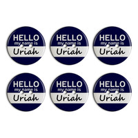 Uriah Hello My Name Is Plastic Resin Button Set of 6