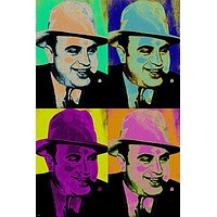 AL CAPONE pop art poster 24X36 COLORFUL CRIMINAL notorious gangster PRIZED
