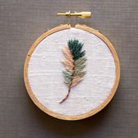 Blue and Gray Feather Embroidery Hoop Art, Cool Tones Rustic Farmhouse Decor, 3 inch hoop, Modern Bohemain, Peach and Gray