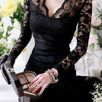 Sexy Womens Deep V Neck See-through Lace Cocktail Prom Clubwear Mini Dress (Size: S, Color: Black) = 1956761156