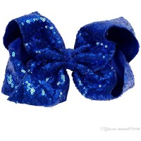 "Sequin 8"" Hair Bow, Royal"