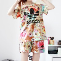 """""""Adidas"""" Women Sports Casual Multicolor Floral Print Short Sleeve Shorts Set Two-Piece"""