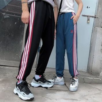 """Adidas"" Unisex Sport Clover Casual Letter Stripe Signature Sweatpants Couple Leisure Pants Trousers"