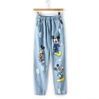 Stylish Ripped Holes Cartoons Print Casual Women's Fashion Pants Jeans [5013301060]