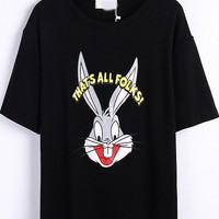 That's All Folks Graphic Cartoon Character Print Loose Fitting T-Shirt in Black