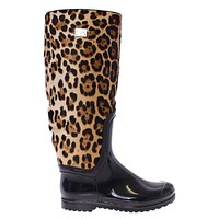 Dolce & Gabbana Black Rubber Leopard Pony Leather Rain Boots