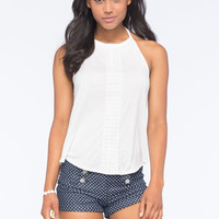 Full Tilt High Neck Crochet Front Womens Tank Cream  In Sizes
