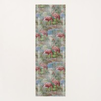 Pink Flamingos Palm Mosaic Yoga Mat