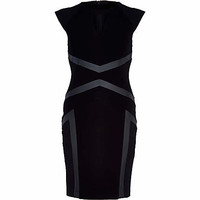 BLACK GEOMETRIC PANEL PENCIL DRESS
