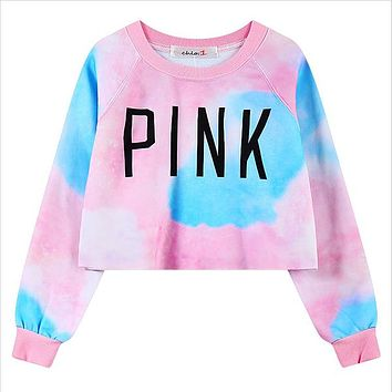 PINK Victoria's Secret Pattern Print Off Shoulder Multicolor Top Blouse Pullover Sweater Shirt