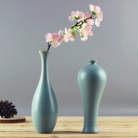 Creative Home Decor Chinese Jingdezhen Ruyao Handmade Ceramics Retro Bule Flower Vase Livingroom Desktop Decoration