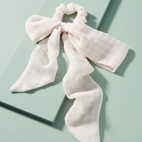 Sheer Gingham Bow Ponytail Holder