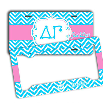 DELTA GAMMA - THIN BLUE CHEVRON WITH PINK - DG  LICENSE PLATE