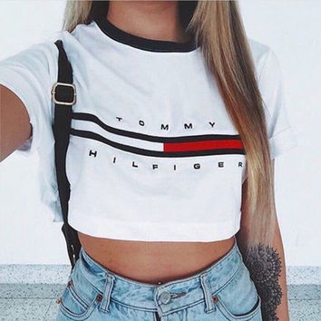 2016 New Fashion Womens Tops Casual Loose Pullover Crop Tops Short Sleeve Cotton Tops Shirt New