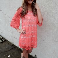 Coral Tribal Printed Dress
