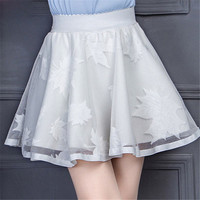 New  Leaves Lace Embroidery Tulle Skirt Mini Skirts Fashion Woman Translucence High Waist Skirts Pleated Skirt 72559 GS