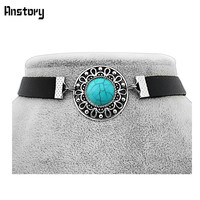 Fashion Hollow Flower Turquoise Leather Chokers Necklace Antique Silver Plated Party Jewelry For Women Girls TN320