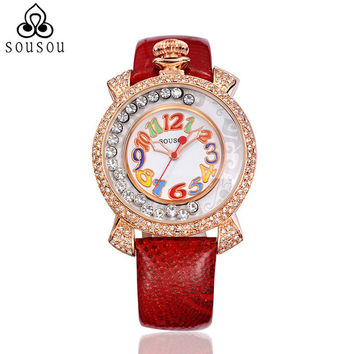 Genuine Leather Strap Big Women Watch Crystal Diamond Dress Ladies Casual Quartz Watches Party Wristwatch Red Watches SouSou