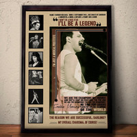 FREDDIE MERCURY Quote Lyrics Art Print Poster * Queen Music Band *  Retro Vintage Wall Decortation * A1 A2 A3 A4 Sizes Available