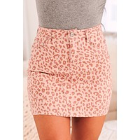 Made For Each Other Leopard Denim Mini Skirt (Pink)