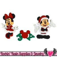 Disney Minnie & Mickey Mouse Christmas Santa and Mrs. Claus Licensed Buttons