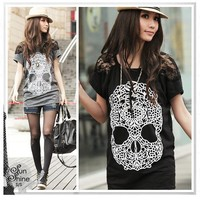 Korean Girl's Skull Prints Lace Sleeve Blouses Cool Tops Women's Loose T-Shirt
