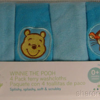"""2 Disney Baby Infant Winnie The Pooh Piglet Tigger 4 Pk Terry Washclothes 10"""""""